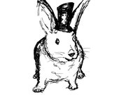 Magic Rabbit Digital Image for Invitations