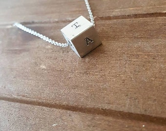 Cube Necklace - 4 sides to personalize Hand Stamped Cube Necklace - Personalized with Initials - Mother's Day- Bridesmaid gift Bridal Party