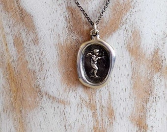 Eros Love Wax Seal Necklace Featuring Cupid - 182