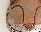 Stoneware Orange Cheshire Cat Art Mask for Home Decor