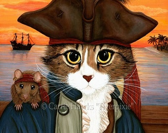Pirate Cat Art Rat Cat Painting Sunset Captain Leo Fantasy Cat Art Limited Edition Canvas Print 11x14 Art For Cat Lover