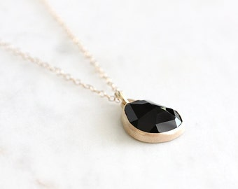 14k gold black spinel necklace, handmade, one of a kind