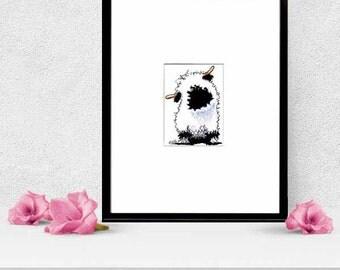 Valais Blacknose Sheep Matted ORIGINAL Art Drawing ACEO