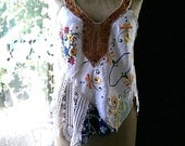Embroidered Top, Vintage textiles, Lace, Linen, Recycled, Doily, Embroidery, Rustic, Boho, Asymmetrical