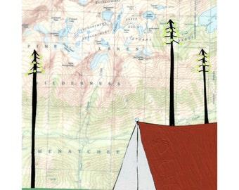 Enchantment Lake Map Print // Camping Art // Tent Art // Travel Art // NW Art // Washington Art // Wanderlust Art // Rachel Austin 11x14