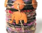 Yarn Wrapped Glass Vase- Handspun Yarn, Hand Dyed, Art Yarn
