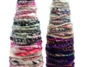Yarn Wrapped Bud Vases- Set of Two- Handspun Yarn, Hand Dyed, Art Yarn, Glass Jar, Pencil Holder, Decorative