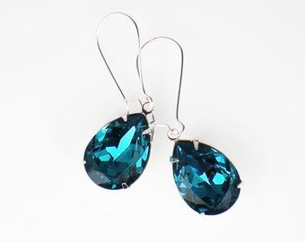 Teal Blue Rhinestone Earrings Swarovski Indicolite Wedding Jewelry Bridesmaid Earrings