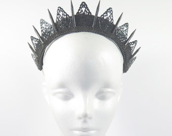 Black Filigree Spike Tiara - by Loschy Designs
