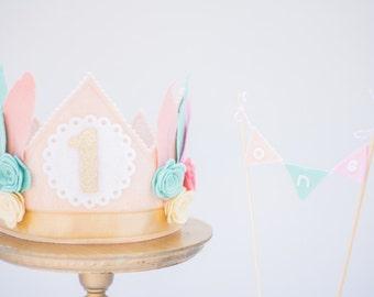 Brave Little One Feather Crown Wild 1, Pink Flower Crown, Her First Birthday, Brave Birthday, Girl's Birthday Crown, Wild 1 Crown, Headdress