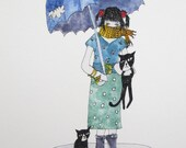 Art Print Crazy Cat Lady with Two Cats