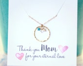 Birthstone Necklace, Mom Necklace, Mother's Birthstone Necklace, Gold Eternity Circle, Three Children, Hammered Circle Personalized Mom Gift