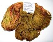 480 Yards of Superwash Fingering Weight Merino Wool &b Nylon Sock Yarn Golden Yellow / Brick Red / Brown Colors