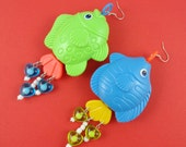 Big Silly Fish Earrings - Repurposed plastic toys, colourful statement, green and blue, yellow and orange,  Harajuku Decora, over the top!