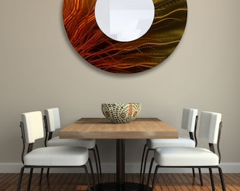 "Contemporary Circle Wall Accent in Gold & Orange, Huge Modern Metal Wall Mirror, Hanging Abstract Mirror - Mirror 109 XXL 40"" by Jon Allen"