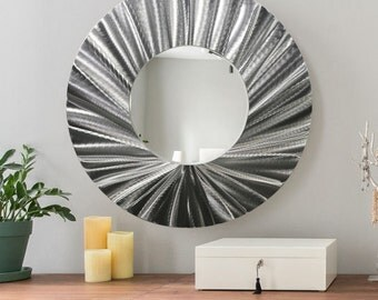 Abstract Circle Metal Wall Art Mirror, Large Contemporary Hanging Wall Art, Silver Modern Metal Wall Mirror - Mirror 118 by Jon Allen