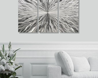 Multi Panel Silver Metal Wall Art, Decorative Modern Metal Wall Sculpture, Abstract Metal Wall Hanging, Set of 3 - Vortex 3p by Jon Allen