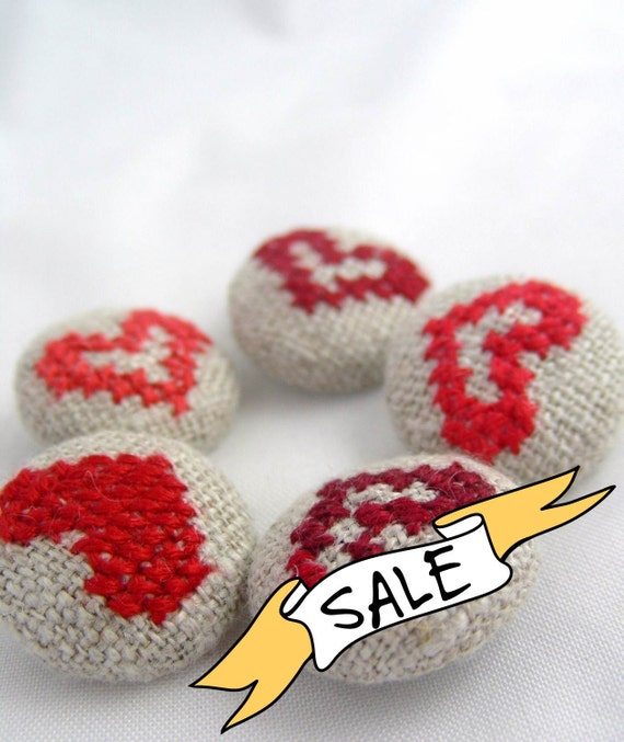 SALE - Red Hearts - Hand Embroidered Buttons