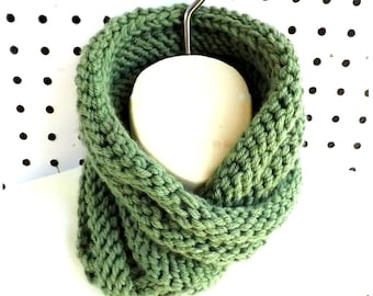Knit Scarf, Knitted Scarf, Knit Infinity Scarf, Knit Cowl Scarf, Boa Sage Green Scarf, Knit Cowl Infinity Scarf