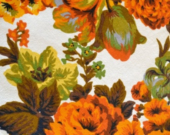 Fall Floral Bark Cloth Home Decor Fabric Large Scale Design Orange Olive Brown Gold
