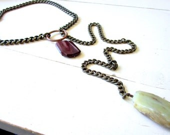 Moukaite Chalcedony Necklace - Lariat - Y Necklace - Statement - Rum Raisin -Etsy Jewelry - catROCKS - Mauve Tan - Gemstone Nuggets - Brass