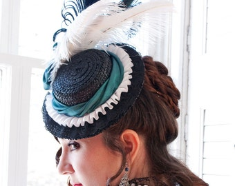 Splendor Victorian Tilt Hat - Natural Straw - Ready to Ship
