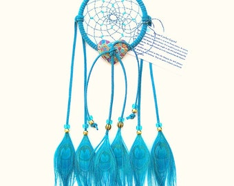 Turquoise Dream Catcher, Peacock Eyes Feathers