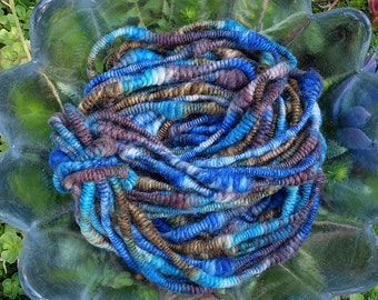 Blueberry Picking Whirlspun - handdyed handspun supercoil yarn (4.125 oz) juicy blues entwined with woodsy browns