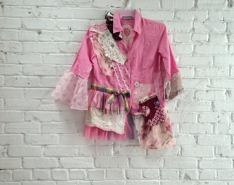 Romantic Shabby Boho Tunic Blouse Lagenlook Pink Linen Refashioned Bohemian Clothing Hippie Gypsy Style Altered Couture  MEDIUM