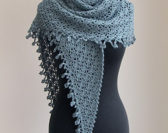 Crochet Lace Shawl Scarf Wrap Cowl, Stylish Comfort Prayer Meditation, Womens Fashion, Grey Green, Baby Alpaca, FREE SHIPPING Ready to Ship