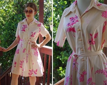 PINK Blossoms 1970's Vintage Cream + Hot Pink Floral Day Dress with Belt // size Medium