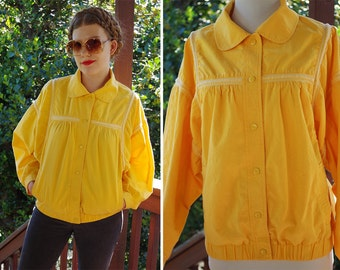 MELLOW Yellow 1980's Vintage Cotton Batwing Jacket Windbreaker with Snap Front // size Medium // by NORDSTROM Point of View