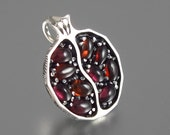 Small JUICY POMEGRANATE garnet silver pendant - Ready to ship