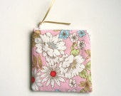 Zipper Pouch in a Pink Floral Print, Zipper Coin Purse for Her, Upcycled