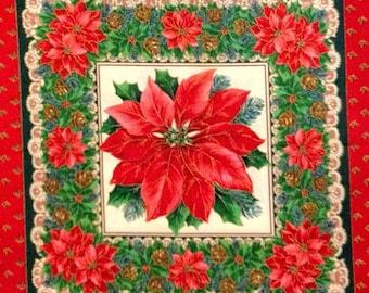 CHRISTMAS POINSETTIA Fabric - Retired Pillow Quilt Blocks Holiday Flower Quilt Block