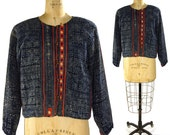 Vintage Hmong Jacket / Indigo Batik Cotton Hill Tribe Dzao Tribal Coat with Bell Buttons