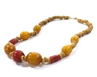 60s Trade Beads Necklace / Vintage 1960s Agate Glass & Stone Heishi Tribal Necklace / Hippie Boho African Nomadic Bohemian Handmade Jewelry