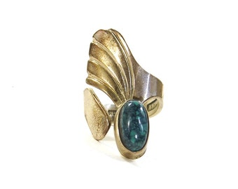 Turquoise & Sterling Silver Ring / Vintage Erma Frances Native American Jewelry / Size 8 / Navajo