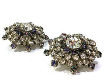 Signed Hobe Aurora Borealis Rhinestone Earrings / Vintage 1950s Crystal Cluster Earrings