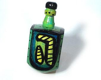 Green Dreidel - Chanukah Dreidel, Jewish Gift, One of a Kind Judaica, Dreidel Game by Claudine Intner