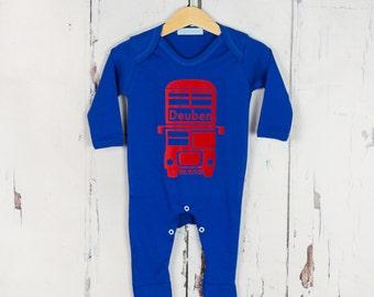 Personalised Baby Onesie London Bus Print