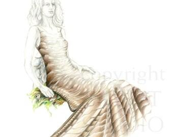 original drawing, figurative, The New(t) Dress, fantasy, surrealism, nature, Kathleen Ney