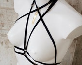 ASTERIA — bondage-style harness — black velvet elastics w/ golden hardware & tassels — fully adjustable w/ removable back strap — onesize