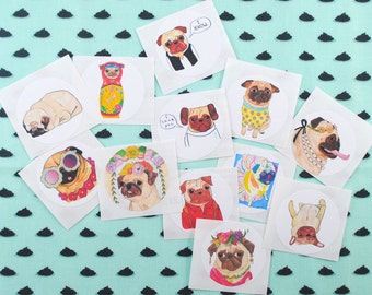 Pug Stickers, Cute Dog Stickers, Pug Lover Gift, Pug Stuff, Pug Stationary, Hipster Stickers, Cool Stickers, Dog Lover Gift, Dog Stationery