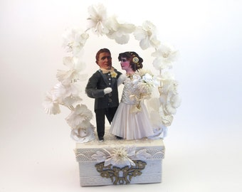 READY TO SHIP Vintage Inspired Spun Cotton Just Married Wedding Cake Topper Ooak
