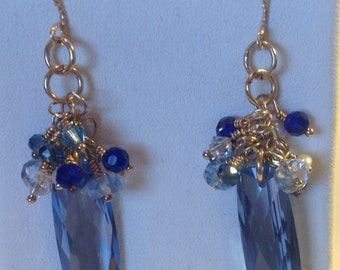 Blue Topaz, Swarovski Crystals and Freshwater Pearl Earrings