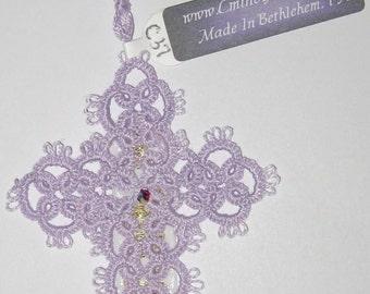 Tatted Cross Bookmark with Swarovski Crystal Center - Light Lavender -  Handmade - C37