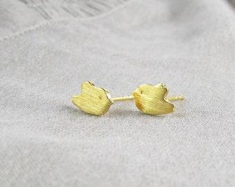 Gold Bird Stud Earrings