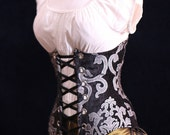 All Sizes Black & Silver Grace Wench Corset WIth Silver Grommets