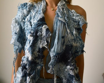 Fiber art scarf wrap from silk and wool in high texture and natural dyes ooak